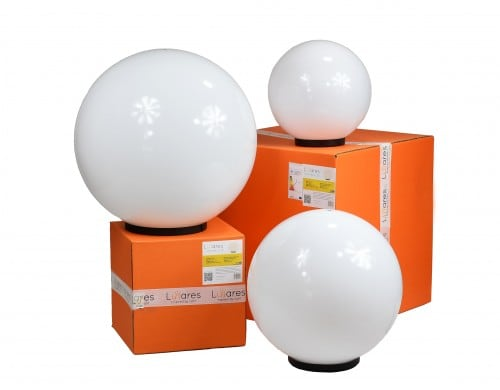 Set of three modern garden lamps Luna ball 20 cm, 30 cm, 40 cm, white balls, gloss, LED bulbs included