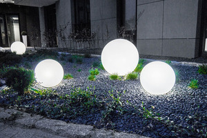 Set of three modern garden lamps Luna ball 20 cm, 30 cm, 40 cm, white balls, gloss, LED bulbs included small 6