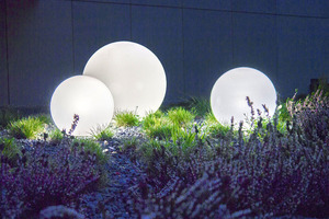 Set of three modern garden lamps Luna ball 20 cm, 30 cm, 40 cm, white balls, gloss, LED bulbs included small 7