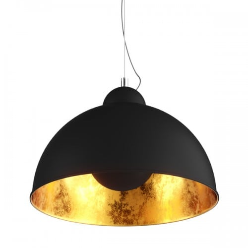 Ceiling Lamp Antenne Pendant Black, Gold in the middle