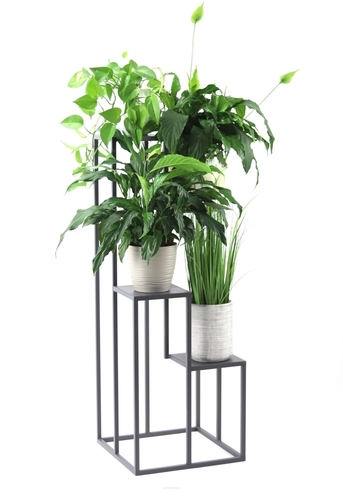 Metal Flowerbed Stand for four flowers METALLO 112cm Gray LOFT