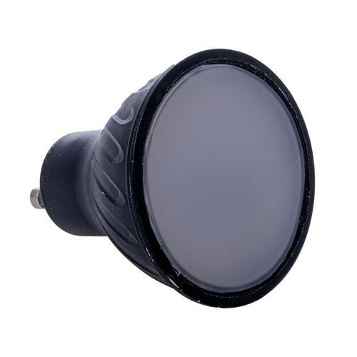 Black 6W Led Bulb Gu10. Color: Warm
