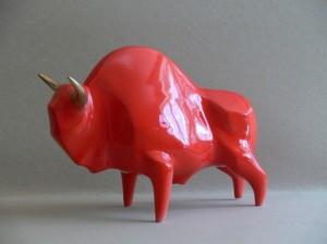Rzeźba Żubr XL ceramiczny czerwony