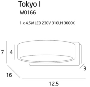 Minimalist wall sconce Tokyo I white metal ring small 2