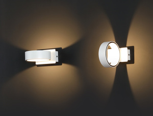 Minimalist wall sconce Tokyo I white metal ring small 0