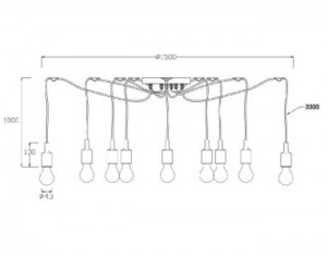 Hanging lamp FIXI black cable E27 small 2