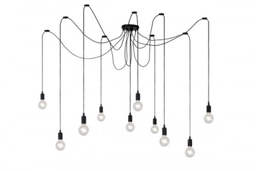 Hanging lamp FIXI black cable E27