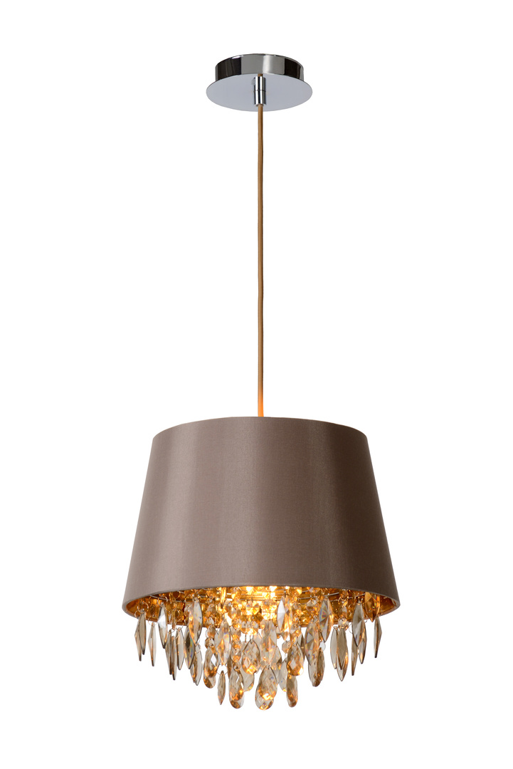 Hanging lamp DOLTI dark gray with crystals