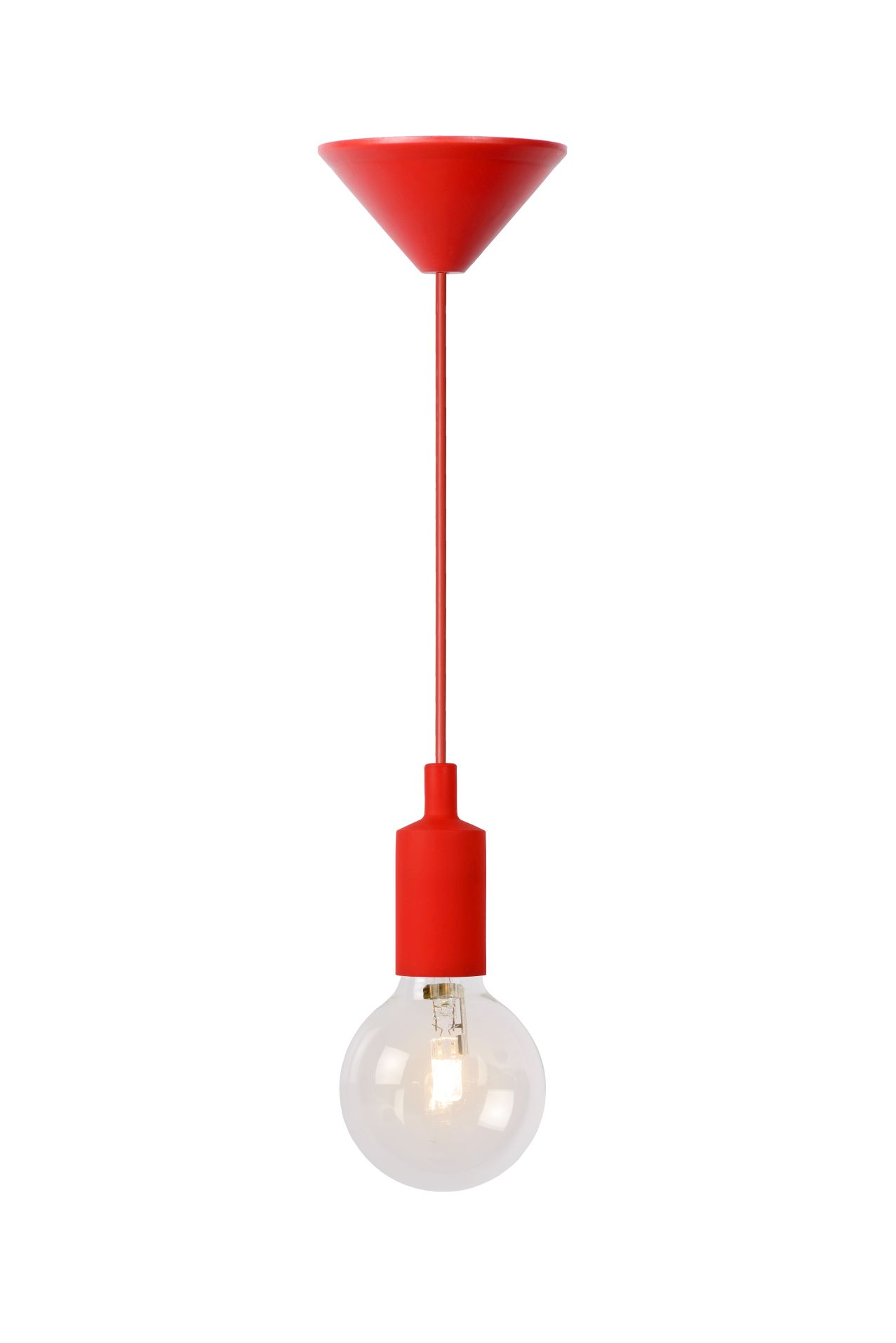Hanging lamp FIXI ONE red cable E27