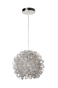MOON satin chrome E27 hanging lamp small 0