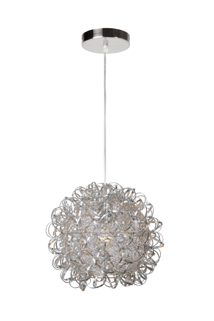 MOON satin chrome E27 hanging lamp