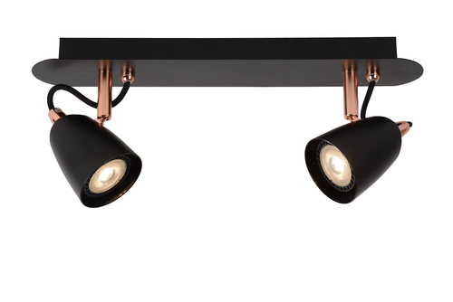 Plafond two-point RODE black copper GU10