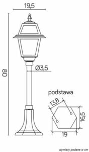 Small garden lantern with stained glass (80 cm) - K 5002/3 N small 10