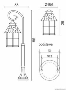 Mini standing garden lantern (86cm) - Toledo K 5002/3 / R small 7