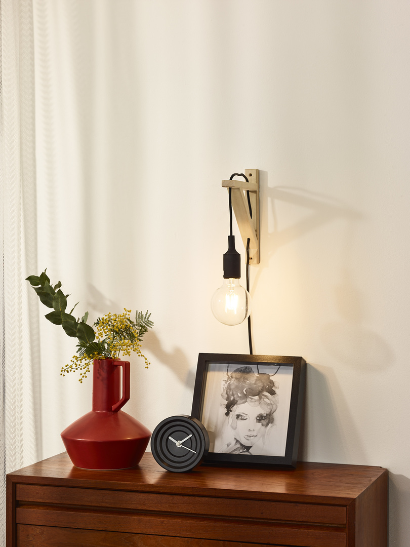 Wall light FIXI WOOD black cable