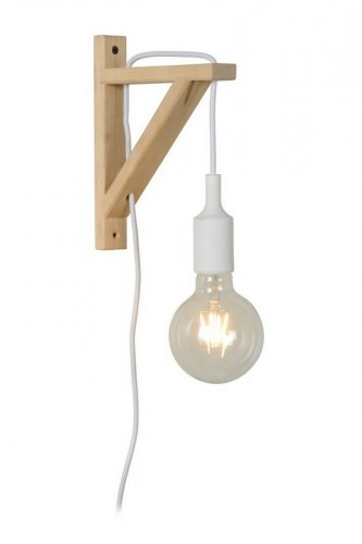 Wall light FIXI WOOD white cable E27