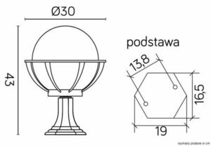 Lampa - ball with basket standing garden (43cm) - K 4011/1 / KPO 250 small 4
