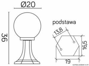 Standing garden latarenka with 1-point ball (36cm) - K 4011/1 / K 200 small 2