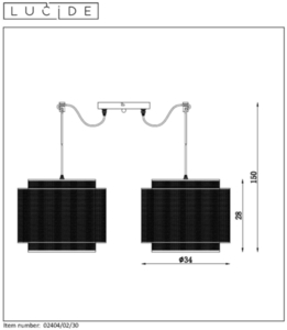 Two-point pendant lamp ORIGIN black metal E27 small 1