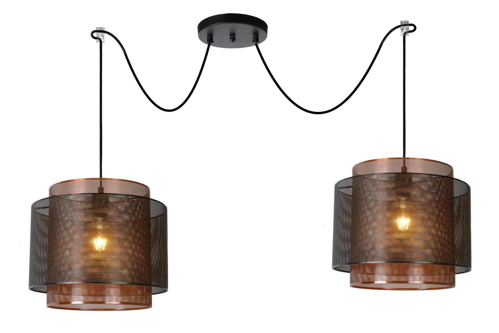 Two-point pendant lamp ORIGIN black metal E27