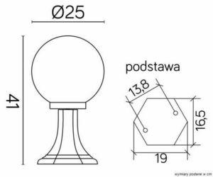 Standing garden latarenka with 1-point ball (41cm) - K 4011/1 / K 250 small 2