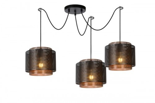 Three-point pendant lamp ORIGIN black metal E27