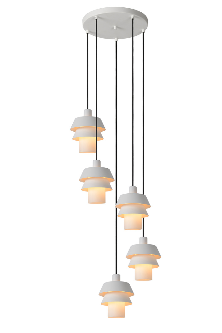 Hanging lamp, five-point EDEN white E27