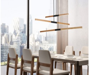 Wooden pendant lamp Lugano LED directed to the table small 0