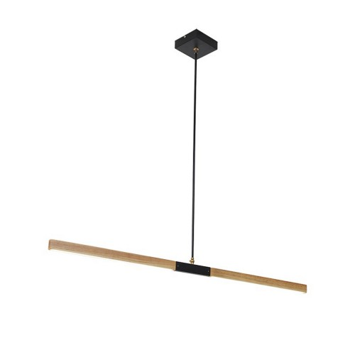 Wooden pendant lamp Lugano LED directed to the table
