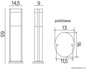 Lighting pole Elis TO 3902-H 650 BL height 65 cm small 4