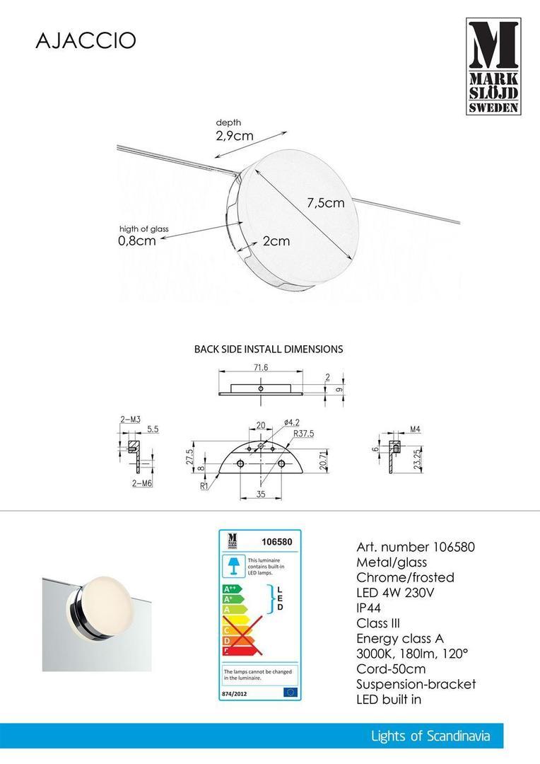 AJACCIO Wall light Chrome IP44