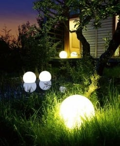 Garden lamp Luna ball 25 cm, garden ball, shining ball, path lighting, classic style, white with gloss small 1