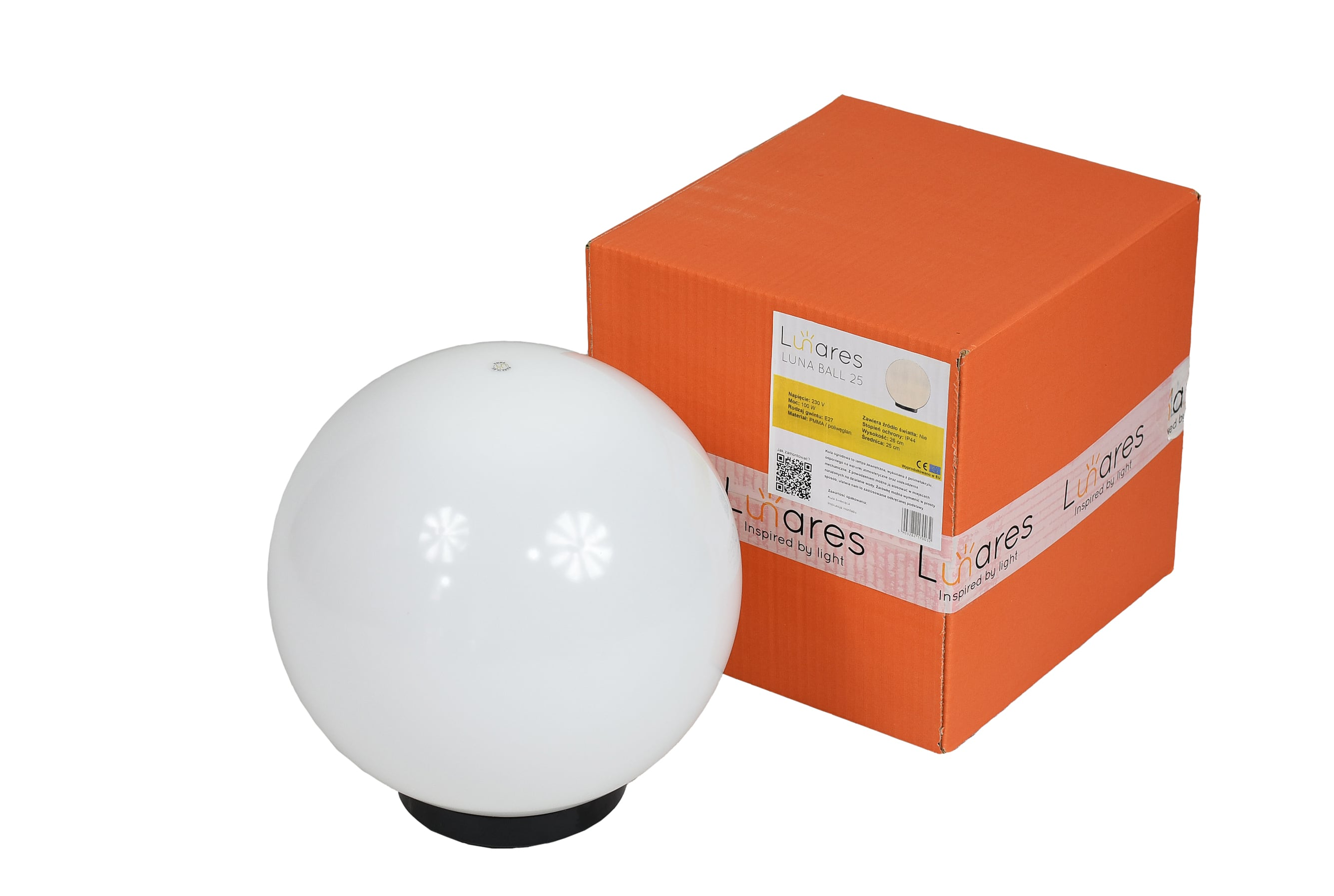 Garden lamp Luna ball 25 cm, garden ball, shining ball, path lighting, classic style, white with gloss