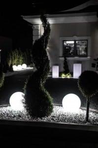 Garden lamp Luna ball 30 cm, decorative sphere, shining garden ball, white, gloss small 7