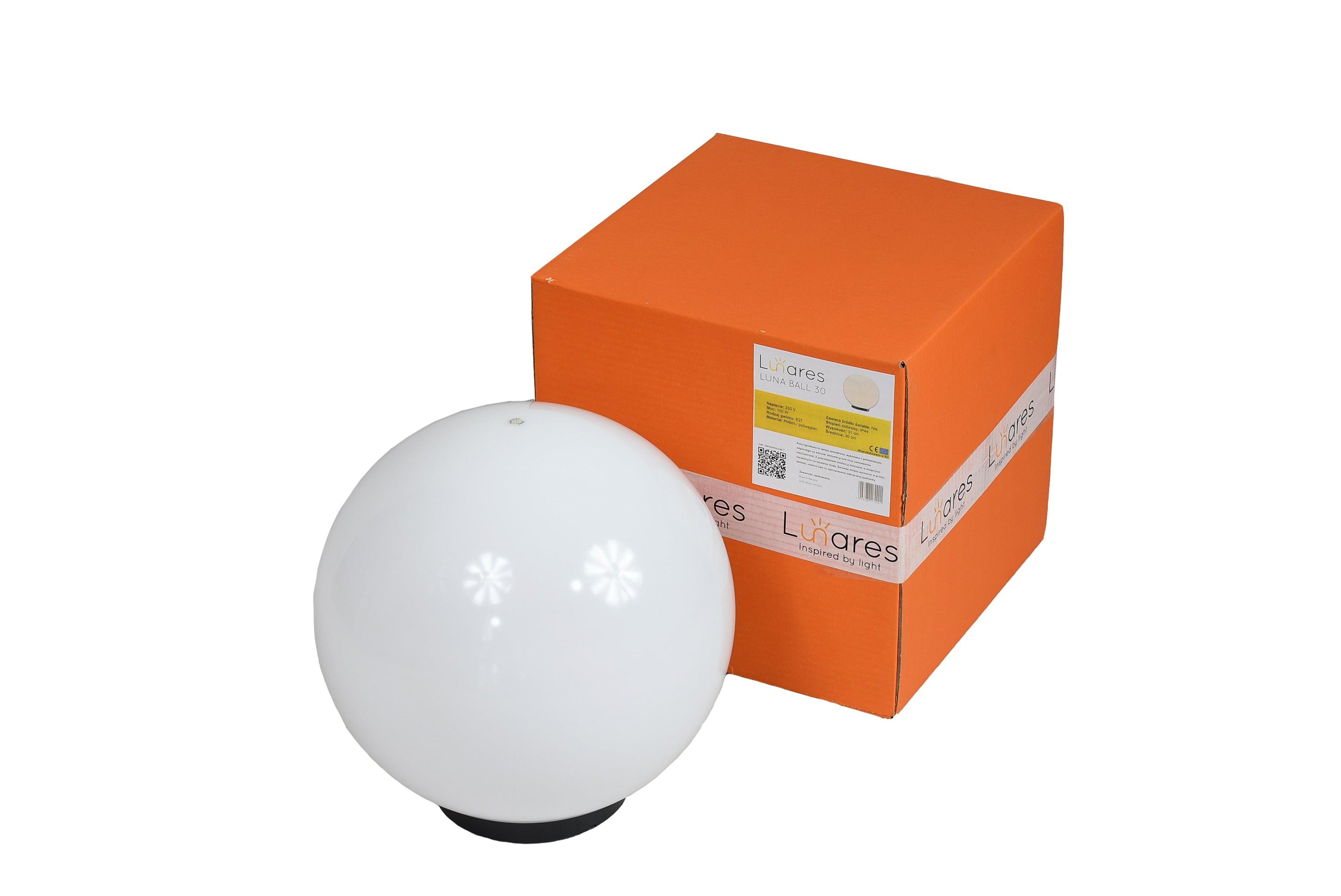 Garden lamp Luna ball 30 cm, decorative sphere, shining garden ball, white, gloss