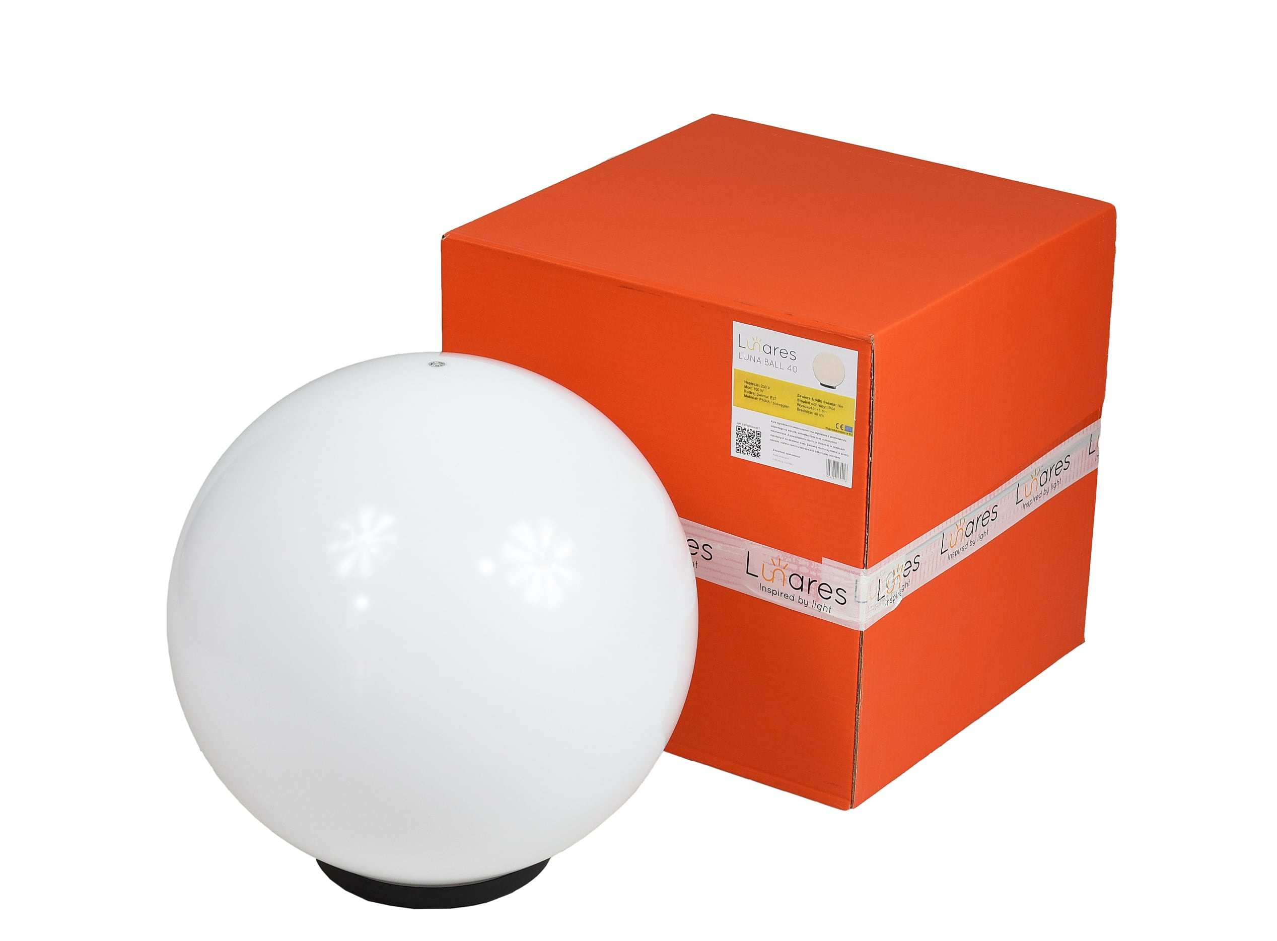 Glowing garden ball, Luna ball 40 cm, path lighting, white, gloss