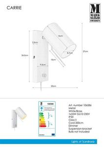 CARRIE Wall light 1L White small 0
