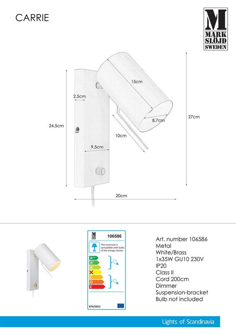 CARRIE Wall light 1L White