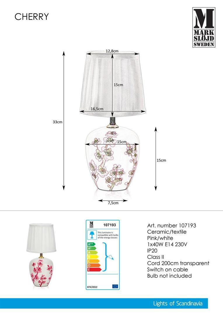 CHERRY Stołowa 33cm White / Pink