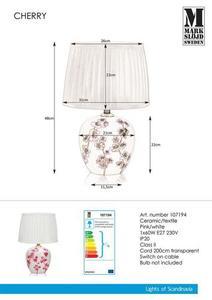 CHERRY Stołowa 48cm Biały/Różowy