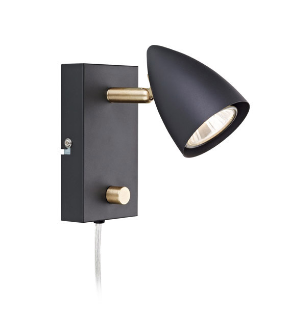 CIRO. Wall light 1L Black / Gold Brushed