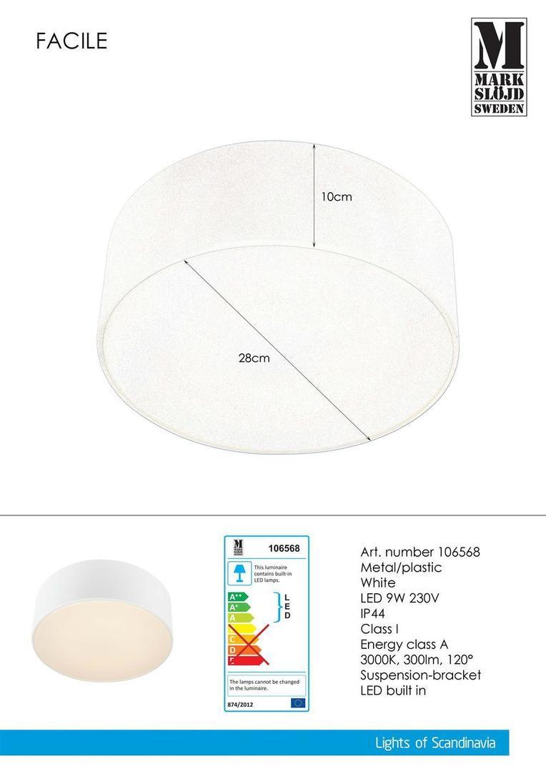 FACILE Plafon 28cm White IP44