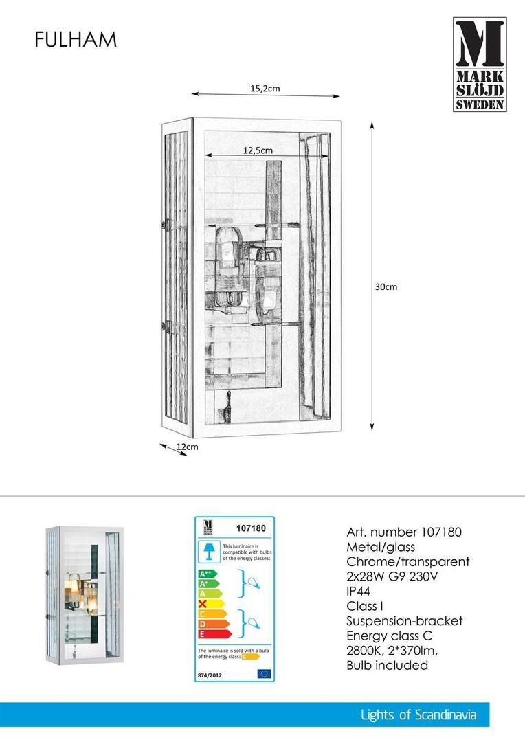 FULHAM Kinkiet 2L Chrom / Przezr. IP44