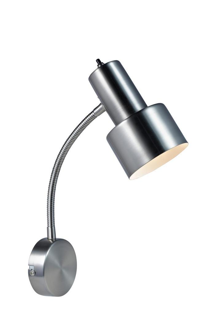 GLOMMEN Wall lamp 1L Brushed Steel