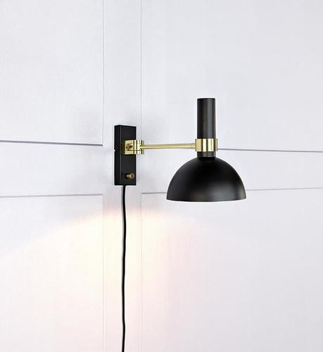 LARRY Wall lamp 1L Black / Gold Brushed