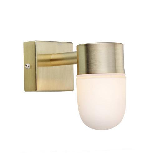 MENTON Wall lamp 1L Golden Brushed / Opal IP44