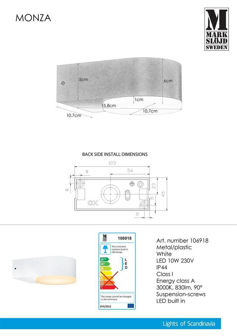 MONZA Wall lamp 1L White