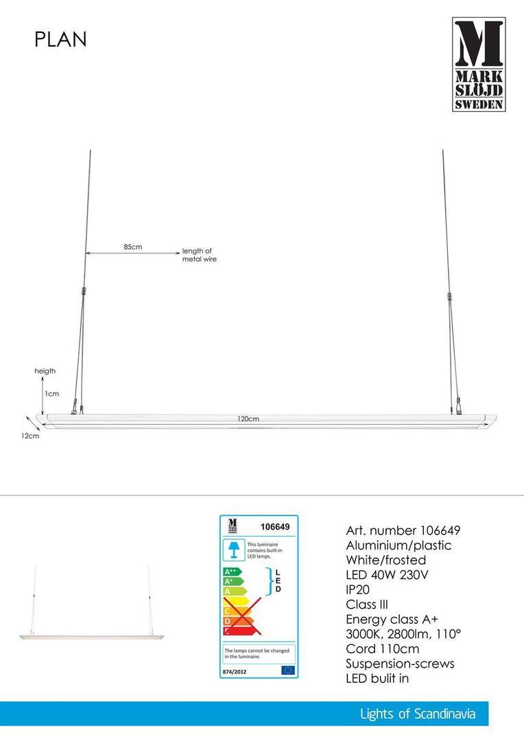 PLAN 120cm 40W White panel