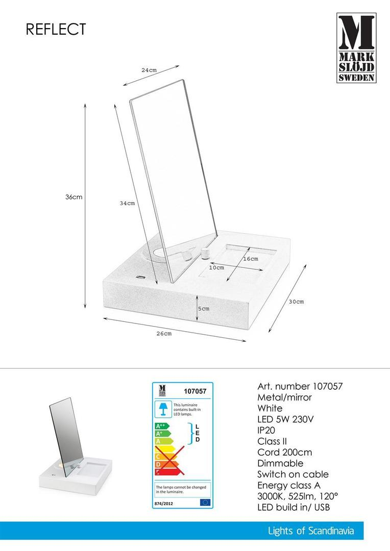REFLECT Table 1L USB White Mirror