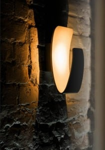 Wall lamp Black gondola with golden LED center small 1